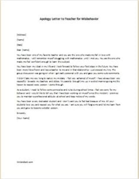 apology letter  tea cher  misbehavior writelettercom