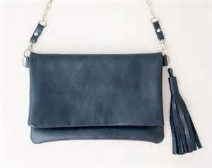 Navy Blue Leather Clutch Purse