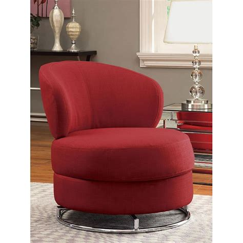 red fabric swivel accent chair coaster furniture