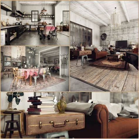 living in a country house style modern house with rustic