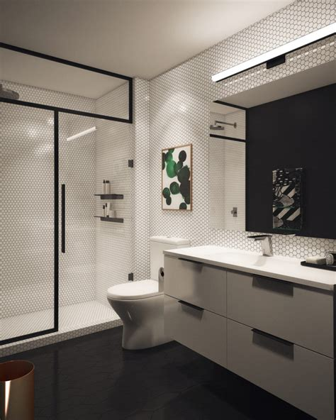 Basic Bathroom Designs by Geometric Bathroom Design In Black And White