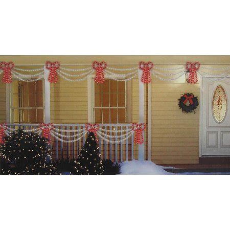 christmas swag lights with bow set of swag style lights with shimmering bow white wire walmart