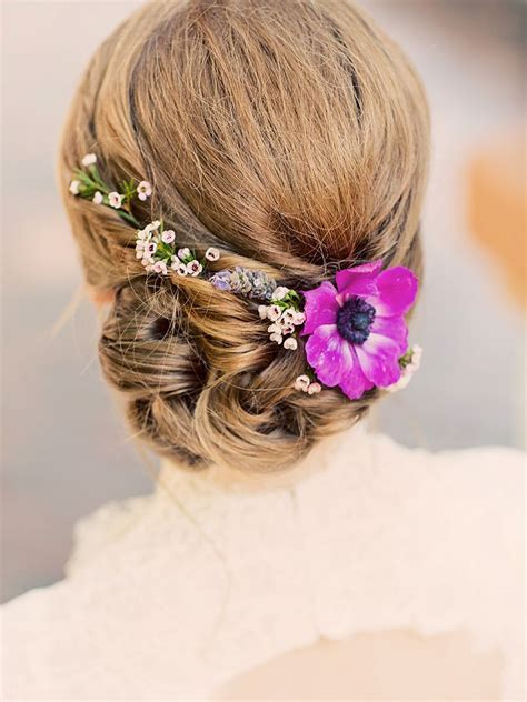 Wedding Hair Ideas Wedding Hairstyles With Real Flowers