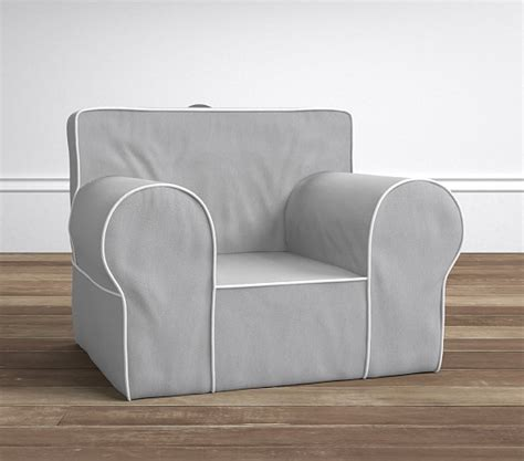 gray with white piping oversized anywhere chair slipcover