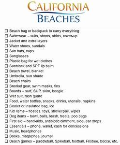 Packing List For Family Vacation Printable Beach Packing List California Beaches
