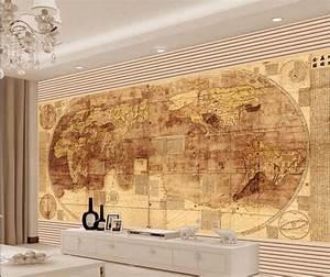 3d wall wallpaper murals , European gold world maps wall ...