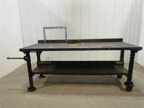 vintage industrial steel roll  workbench table