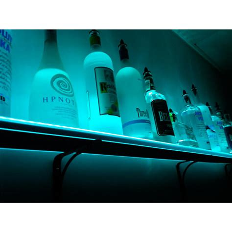 wall mounted led lighted liquor bottle shelf 8 ft