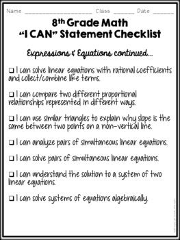 statements student checklist  grade math common