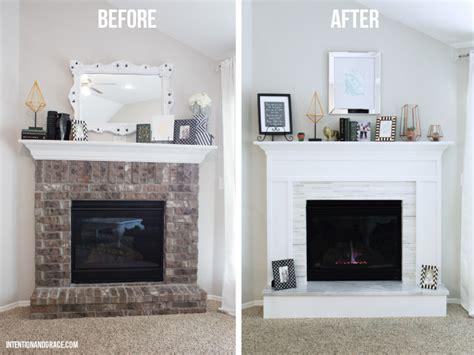 brick fireplace makeover modern fireplace makeover intention grace Modern
