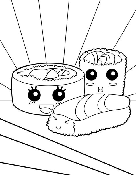 white food coloring sushi makis coloring page coloring pages coloring