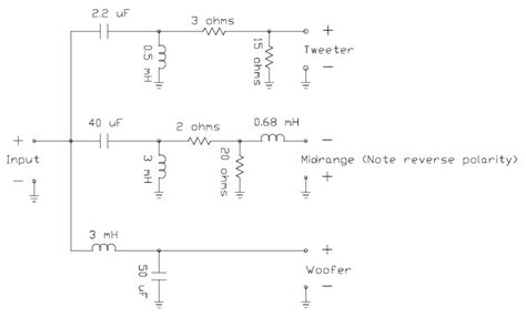 loudspeaker system crossover network circuit scheme