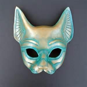 cat masks ancient bronze look cat mask bast handmade