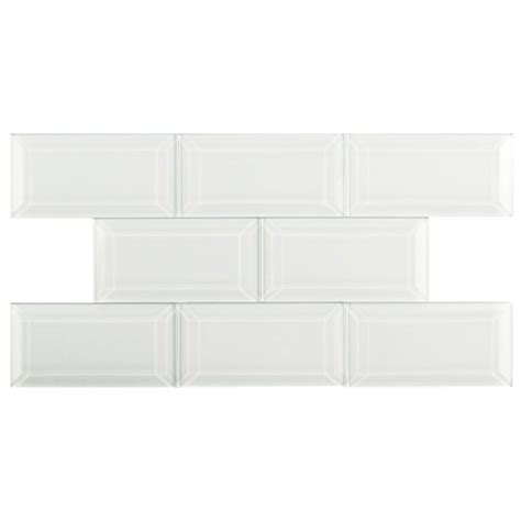 merola tile tessera beveled white 3 in x 6 in glass