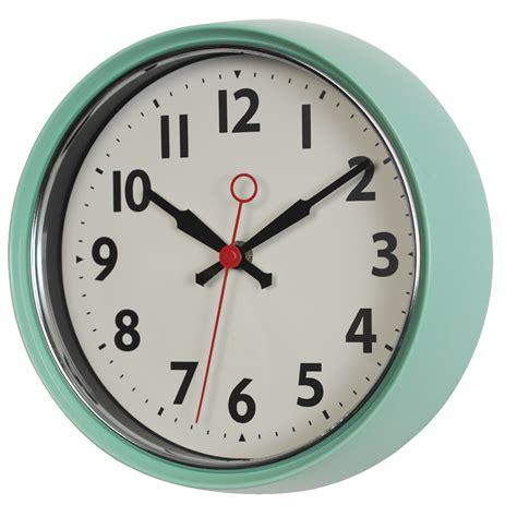 mint green metal wall clock dotcomgiftshop