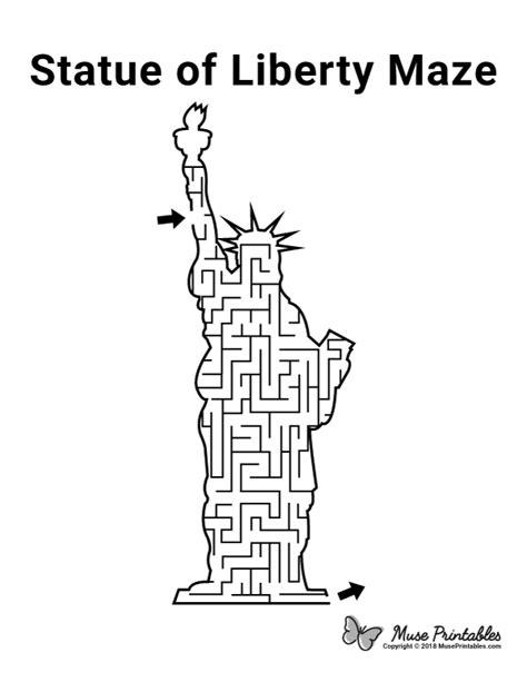 printable statue  liberty maze