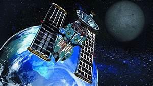 Satellite In Cosmic Space Around The Earth Moon Stars Art ...