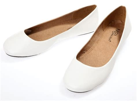 Ballet Flats Shoes : Womens White Ballet Flats Ballerina Casual Slip On Shoes