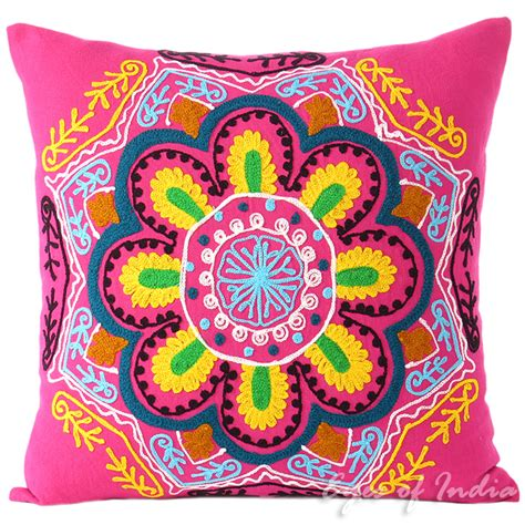 Colorful Sofa Pillows by Pink Yellow Embroidered Colorful Decorative Sofa Throw