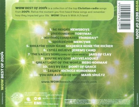 The list on this page is for all #1 hit country singles for 2004 using proprietary methods. Wow: Best of 2004 - Various Artists   Songs, Reviews, Credits   AllMusic