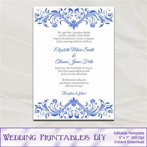 blank wedding invitations templates royal blue yaseen for With free printable wedding invitations royal blue