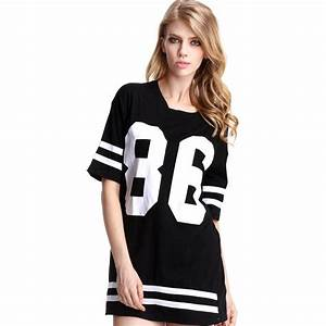 long dress t shirt with baseball 86 print for women With t shirt robe femme