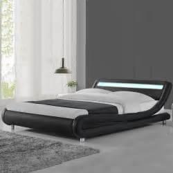 modern designer led lights headboard bed frame black white