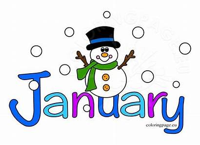 January Clipart Month Coloring