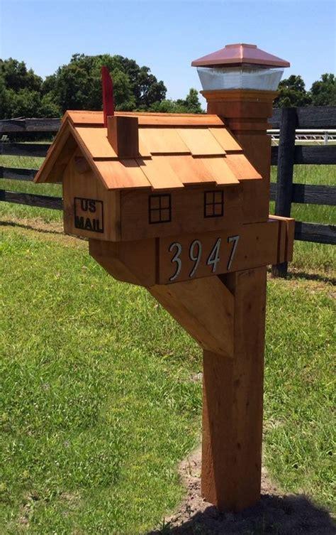 decorative cedar wood mailbox post  wilray designs