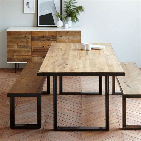 oak and steel dining table modern furniture home decor home accessories west elm