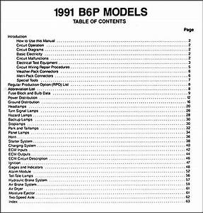 1991 Gmc Chevy P4 And B6 Wiring Diagram Manual Original