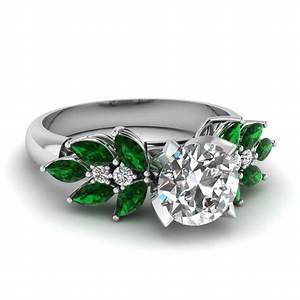 Round cut nature inspired marquise diamond ring with for Wedding ring emerald