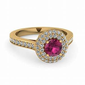 Pink sapphire pave double halo colored engagement ring in for Colored diamond wedding ring