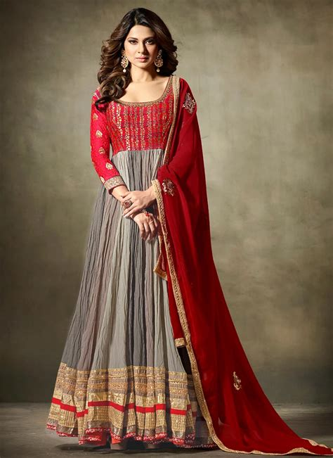 buy jennifer winget grey  red anarkali suit zari