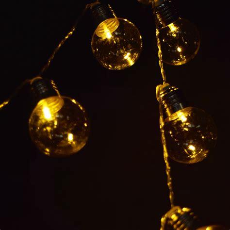 10 led warm white plastic light bulb shaped string