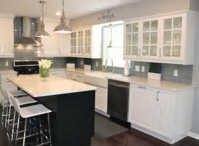 White Cabinets With Grey Walls by Gray Glass Subway Tile In Fog Bank Modwalls Lush 3x6