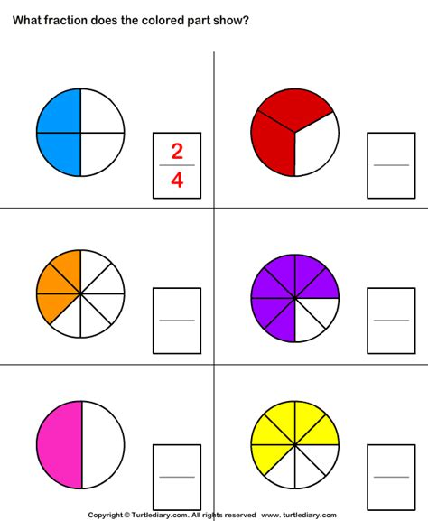 What Fraction Of Shape Is Colored Worksheet  Turtle Diary