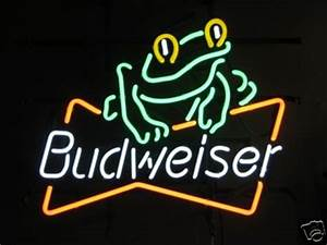 Unique 09 Budweiser Frog mercial Neon Glass Beer