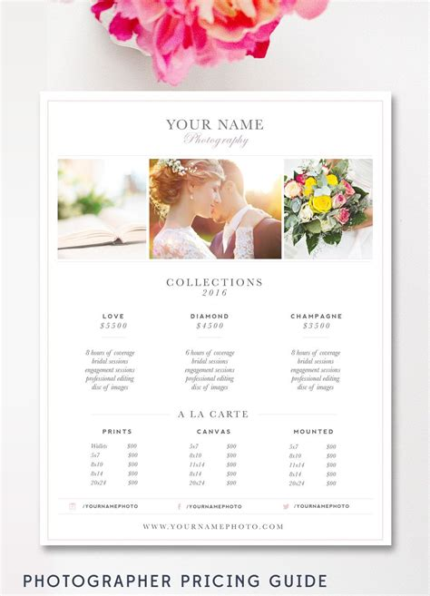 photography price list template business  photography