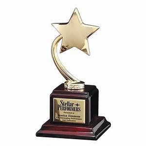 Brilliant Gold Star Piano Finish Base Award - AwardMakers
