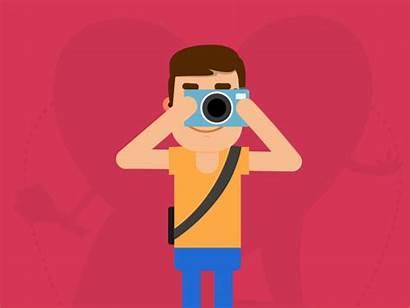 Photographer Dribbble Animated Animation Camera Gifs Funny