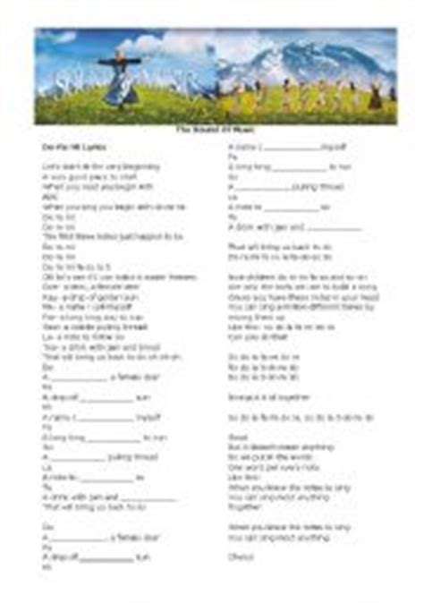 Do a dear a female dear re a drop of golden sun me a name i call myself fa a long long way to run so a niddle falling thread la a note to follow so ti a drink with jam and bread that will bring us back to do. The Sound of Music - Do Re Mi - ESL worksheet by TeacherElen