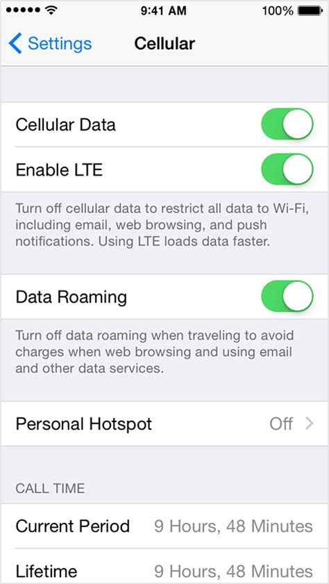 learn about cellular data settings and usage on your