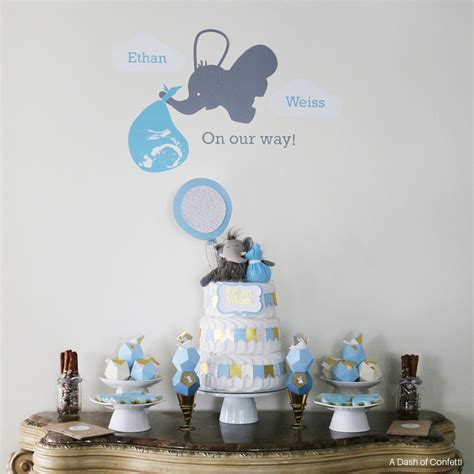 baby baby shower decorations geometric blue gold elephant baby shower