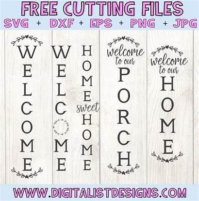 Welcome Vertical Svg Porch Digitalistdesigns Signs Cricut