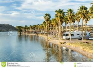 southwestern style homes rv cing on the southern colorado river stock images