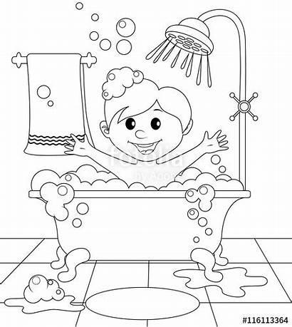 Bathroom Coloring Boy Vector Illustration Designlooter