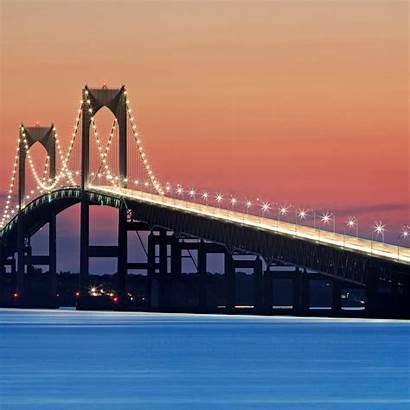 Newport Bridge Night Sunset Fine Lights Ri