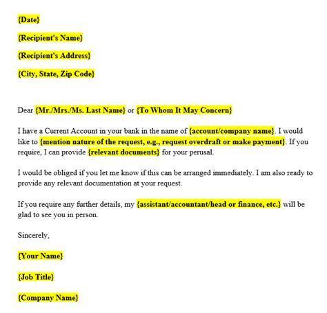 request letter  bank format   samples