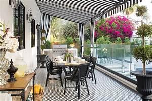 Black And White Cement Tiles On Backyard Floor